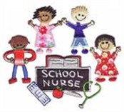 Cartoon Picture of Kids with a sign reading School Nurse