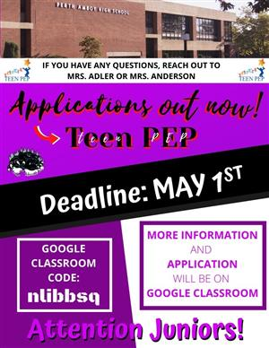 Attention Students Teen Pep Application Deadline May 1!!!